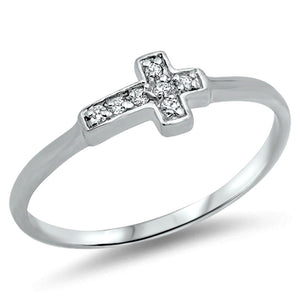 .925 Sterling Silver Kids and Ladies CZ Tiny Sideways Cross ring Size 2-10