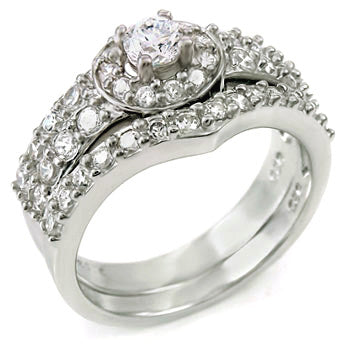 Sterling Silver Round cut Halo CZ Wedding Ring Set size 5-9 by Blades and Bling Sterling Silver Jewelry