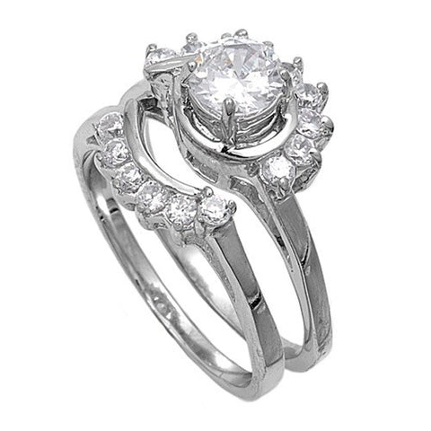 Sterling Silver CZ 3 carat Brilliant Round Cut Flower Design with Sidestones Wedding Ring Set Size 5-10 by  Blades and Bling Sterling Silver Jewelry