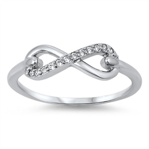 Sterling Silver Round Cut CZ Infinity Ring Size 4-12 by Blades and Bling Sterling Silver Jewelry
