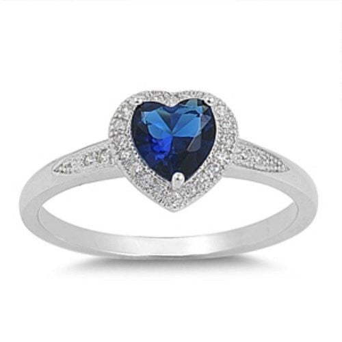 Sterling Silver Halo Blue Sapphire CZ Heart Engagement Ring size 4-10 - Blades and Bling Sterling Silver Jewelry