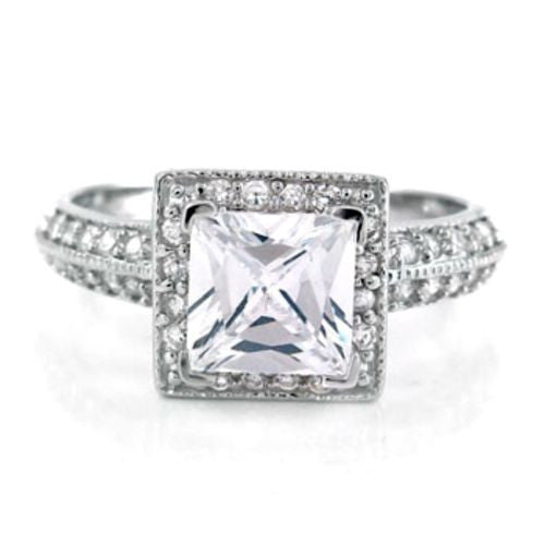Sterling Silver Halo CZ Engagement Ring Princess Cut size  4-11 - Blades and Bling Sterling Silver Jewelry