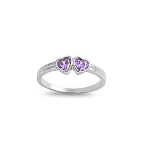 Sterling Silver Amethyst Purple CZ Twin Heart Ring Size 1-5