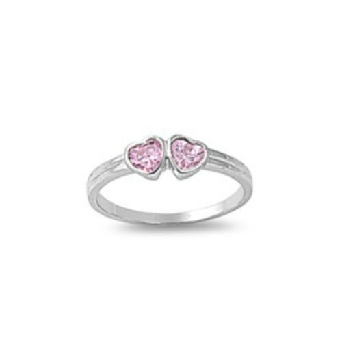 Sterling Silver Pink Topaz CZ Twin Hearts Ring Size 1-5 by Blades and Bling Sterling Silver Jewelry