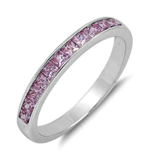 Sterling Silver Pink Topaz CZ Princess Cut Wedding Band Ring size 5-10 by Blades and Bling Sterling Silver Jewelry