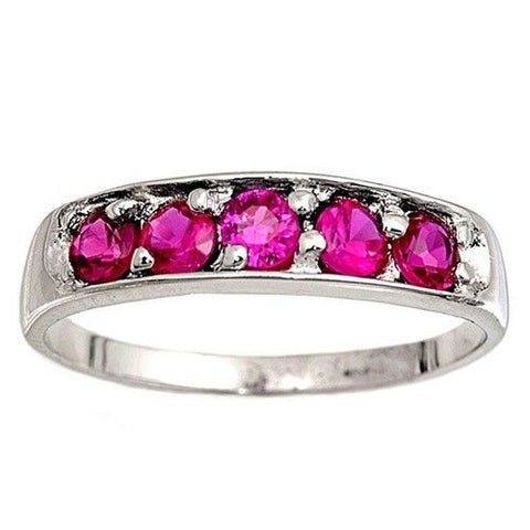 Sterling Silver Ruby Red CZ Five Stones Ring Size 1-6 by Blades and Bling Sterling Silver Jewelry