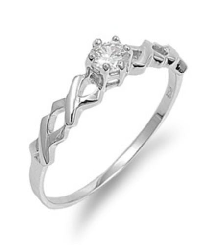 Sterling Silver CZ Twisted Engagement Ring size 4- 9 by  Blades and Bling Sterling Silver Jewelry