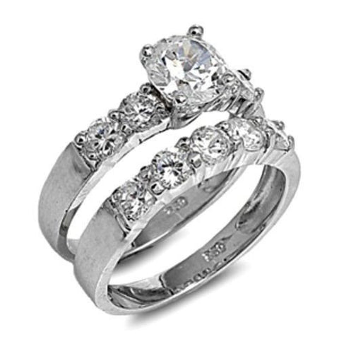 Sterling Silver Wedding Ring Set CZ Engagement Ring and Band Bridal size 5-10 by  Blades and Bling Sterling Silver Jewelry