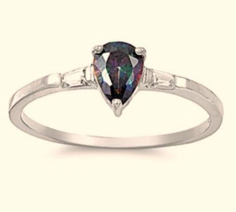 Sterling Silver Rainbow Mystic Topaz CZ Teardrop Engagement Ring size 4-9  Blades and Bling Sterling Silver Jewelry