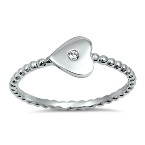 .925 Sterling Silver Kids and Ladies Clear Heart ring Size 4-10