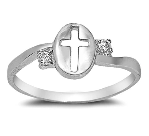 .925 Sterling Silver CZ Christian Cross Girls and Ladies Ring Size 4-9