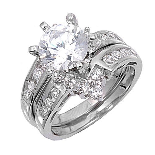 Sterling Silver CZ 3 carat Brilliant Round Cut Channel Set Wedding Ring Set 5-10 - Blades and Bling Sterling Silver Jewelry