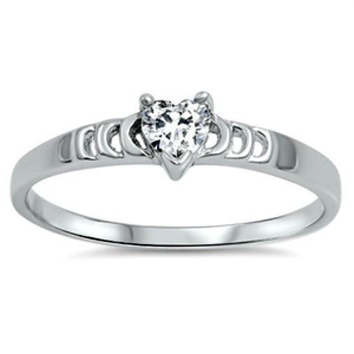 .925 Sterling Silver Ladies Clear White CZ Heart Promise ring Size 5-10