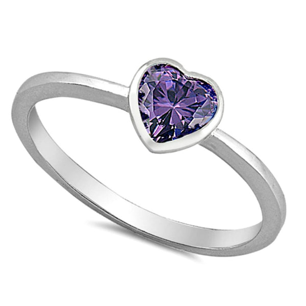 .925 Sterling Silver Kids and Ladies Purple Amethyst CZ Heart ring Size 2-10