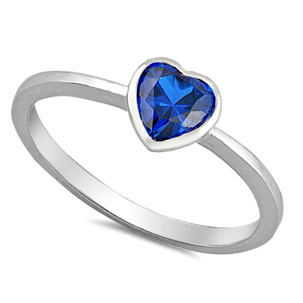 Heart cut blue sapphire silver ring for a new baby gift or christening or a womens ring