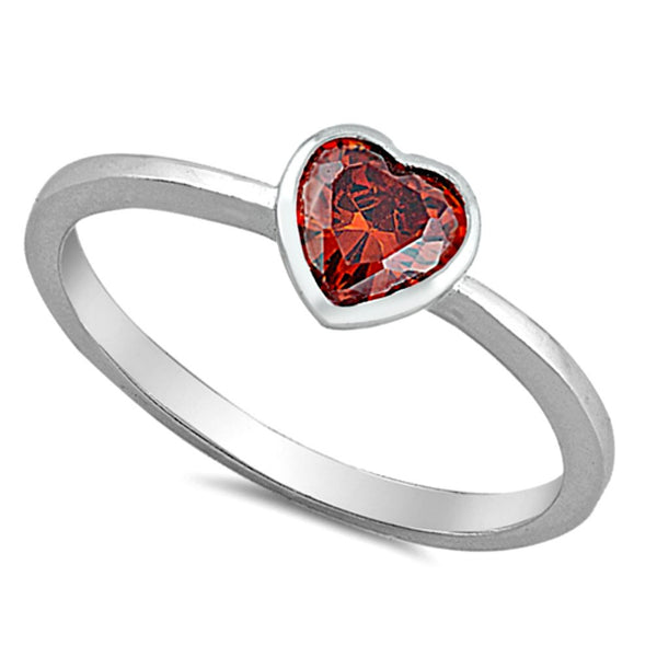 .925 Sterling Silver Kids and Ladies Garnet Heart ring Size 2-10