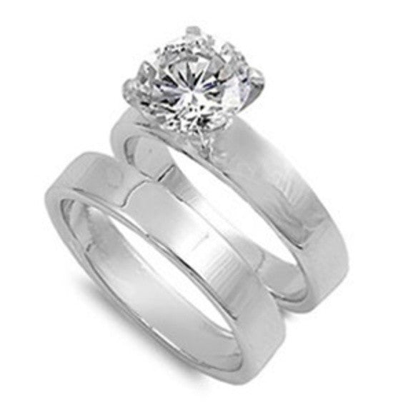 Sterling Silver CZ 3 carat Brilliant Round Cut Plain Band Solitaire Wedding Ring Set 5-10 - Blades and Bling Sterling Silver Jewelry