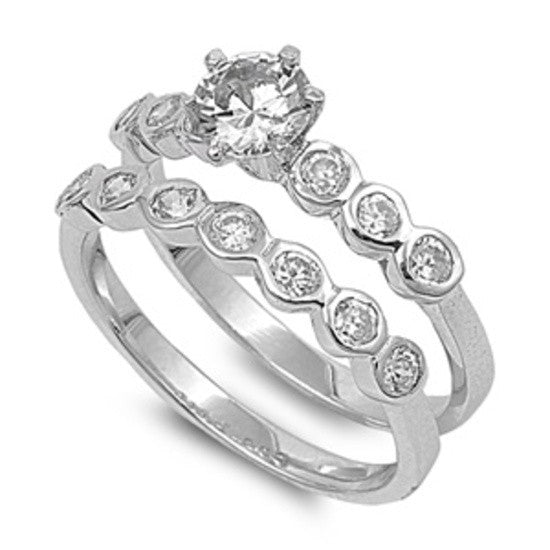 Sterling Silver CZ .75 carat Brilliant Round Cut Bezel Set Band Wedding Ring Set 5-10 - Blades and Bling Sterling Silver Jewelry