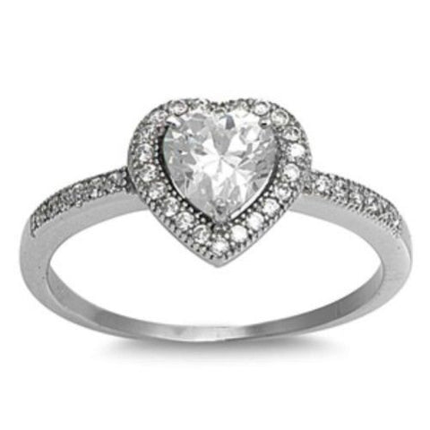 Sterling Silver Halo CZ Heart Engagement Ring size 4-10 - Blades and Bling Sterling Silver Jewelry
