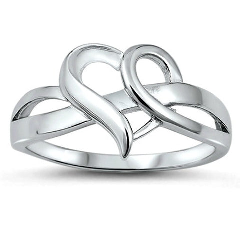 .925 Sterling Silver Infinity Open Heart Ladies ring size 4-10