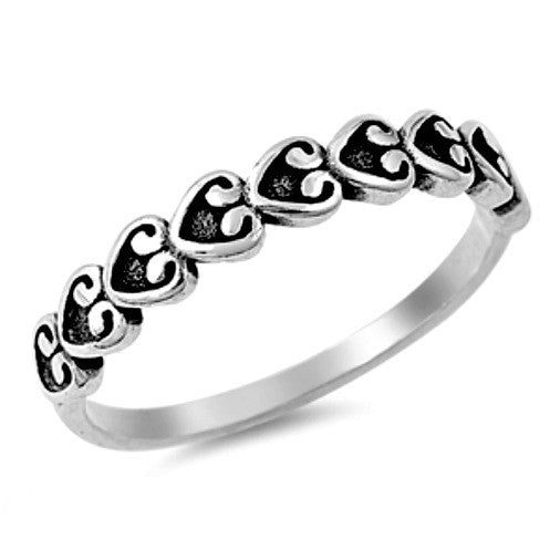 .925 Sterling Silver Curly Heart Eternity Ring Ladies Size 3-10