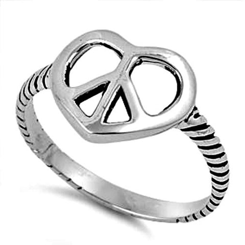 .925 Sterling Silver Peace Sign Heart ring Ladies size 5-11 by  Blades and Bling Sterling Silver Jewelry