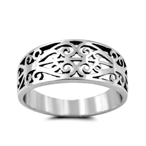 Double Heart Celtic Ring Band Ladies and Mens size 5-10