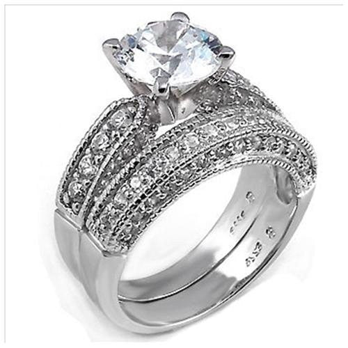 Sterling Silver Round Cut Cz Vintage Style Thick Band Pave Set