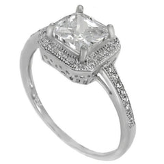 Sterling Silver Halo CZ Princess Cut Engagement Ring size 4-9 - Blades and Bling Sterling Silver Jewelry