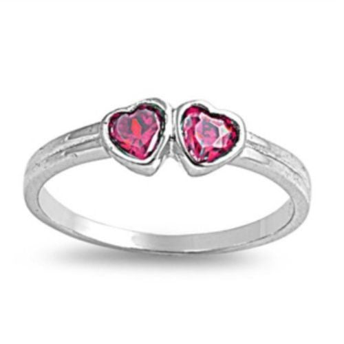 Sterling Silver Ruby Red CZ Twin Heart Ring Size 1-5 by Blades and Bling Sterling Silv1 er Jewelry