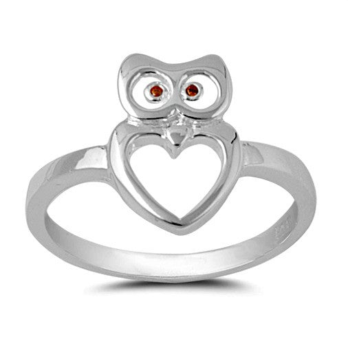 .925 Sterling Silver Owl Heart Ring with Ruby Eyes Ladies Ring Size 4-10