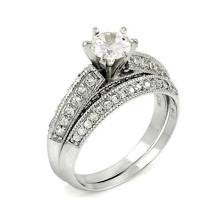 Sterling Silver .50 carat Round cut CZ Pave Set Wedding Ring set size 5-10