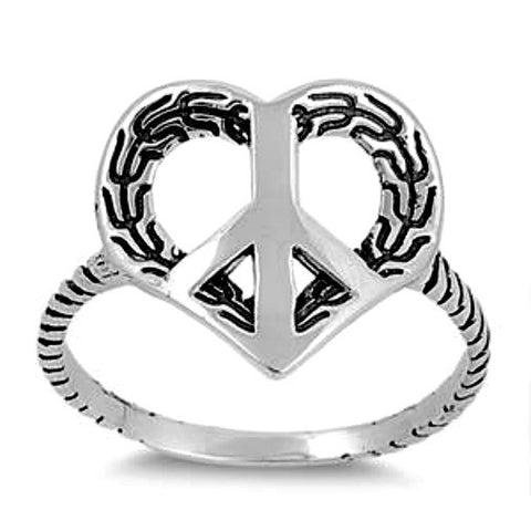 .925 Sterling Silver Peace Sign Leaf Earth Heart Ring Ladies size 5-9 by  Blades and Bling Sterling Silver Jewelry