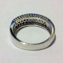 Sterling Silver CZ Triple Row Wedding Band Ring size 5-9 - Blades and Bling Sterling Silver Jewelry