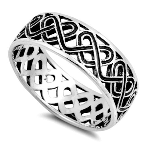 .925 Sterling Silver Celtic Knot Heart Band Ring Ladies and Mens size 5-14 by  Blades and Bling Sterling Silver Jewelry