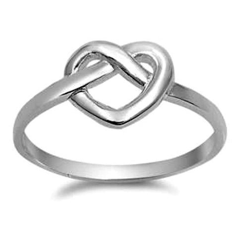 .925 Sterling Silver Heart Love Knot Pretzel Ladies ring size 4-10 by  Blades and Bling Sterling Silver Jewelry