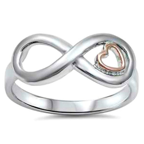 .925 Sterling Silver and Gold Infinity Heart ring Ladies size 5-10 by  Blades and Bling Sterling Silver Jewelry