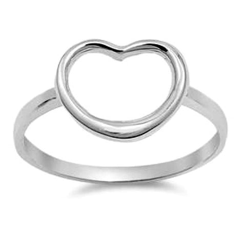 .925 Sterling Silver Large Open Heart Ring Ladies size 4-10 by  Blades and Bling Sterling Silver Jewelry