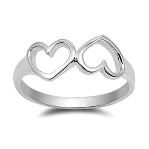 .925 Sterling Silver Twin Open Heart Ring Ladies size 4-10 by  Blades and Bling Sterling Silver Jewelry