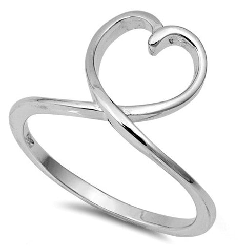 .925 Sterling Silver Open Heart Loop Ring Ladies Size 4-10