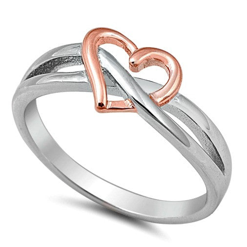 .925 Sterling Silver and Rose Gold Open Heart Infinity Ring Ladies Size 4-10 by  Blades and Bling Sterling Silver Jewelry