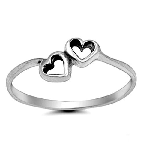 .925 Sterling Silver Tiny Double Heart Kids and Ladies ring size 2-10 by  Blades and Bling Sterling Silver Jewelry