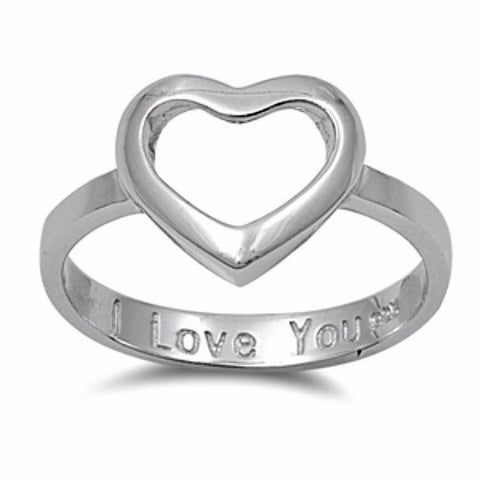.925 Sterling Silver Open Heart Engraved I Love You Ladies ring size 4-10