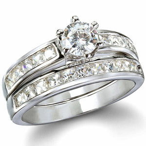 eaa20cc3ea460 Sterling Silver .75 carat Round cut CZ and Channel Set Princess cut Wedding  Ring Set size 4-11