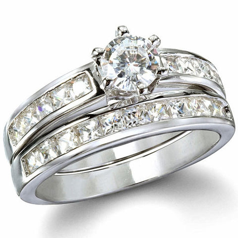 Sterling Silver .75 Carat Round Cut CZ And Channel Set Princess Cut Wedding  Ring Set