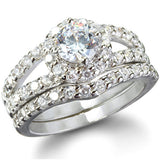 Sterling Silver .75 carat Halo Round cut CZ Wedding Ring set size 5-9