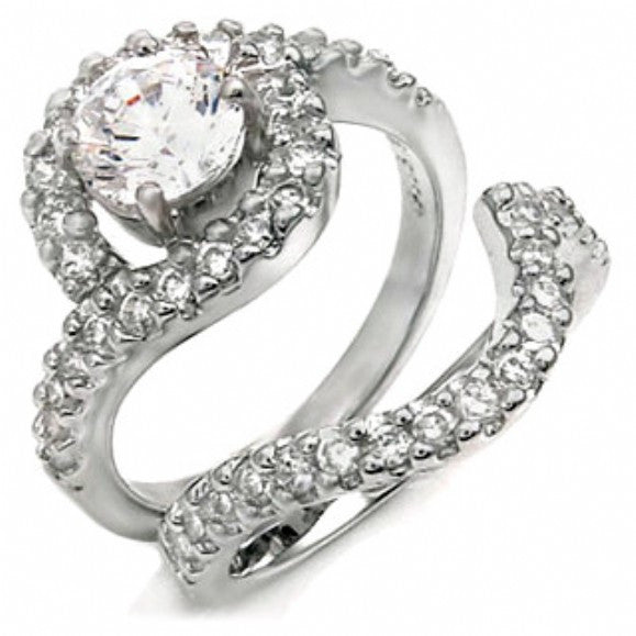 Sterling Silver 1 carat Infinity Round cut CZ Wedding Ring set size 5-9