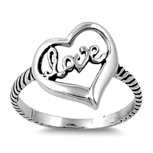 .925 Sterling Silver Love Script Heart Ring Ladies size 5-10 by  Blades and Bling Sterling Silver Jewelry
