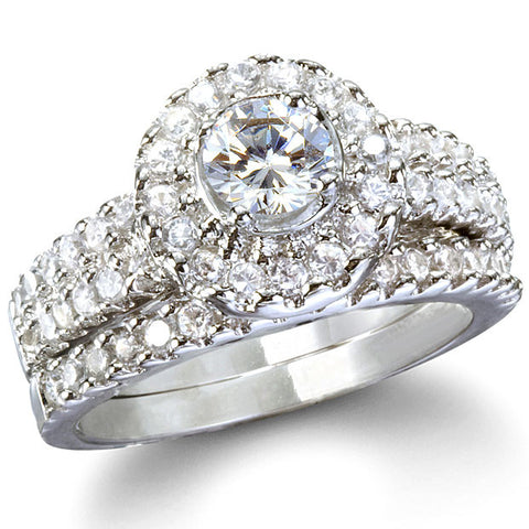 Sterling Silver Halo Round cut CZ Antique Style Wedding Ring Set Size 5-9 - Blades and Bling Sterling Silver Jewelry