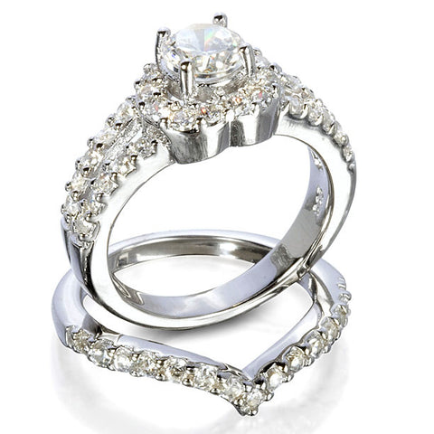sterling silver round cut halo cz heart wedding ring set size 4 9 by blades